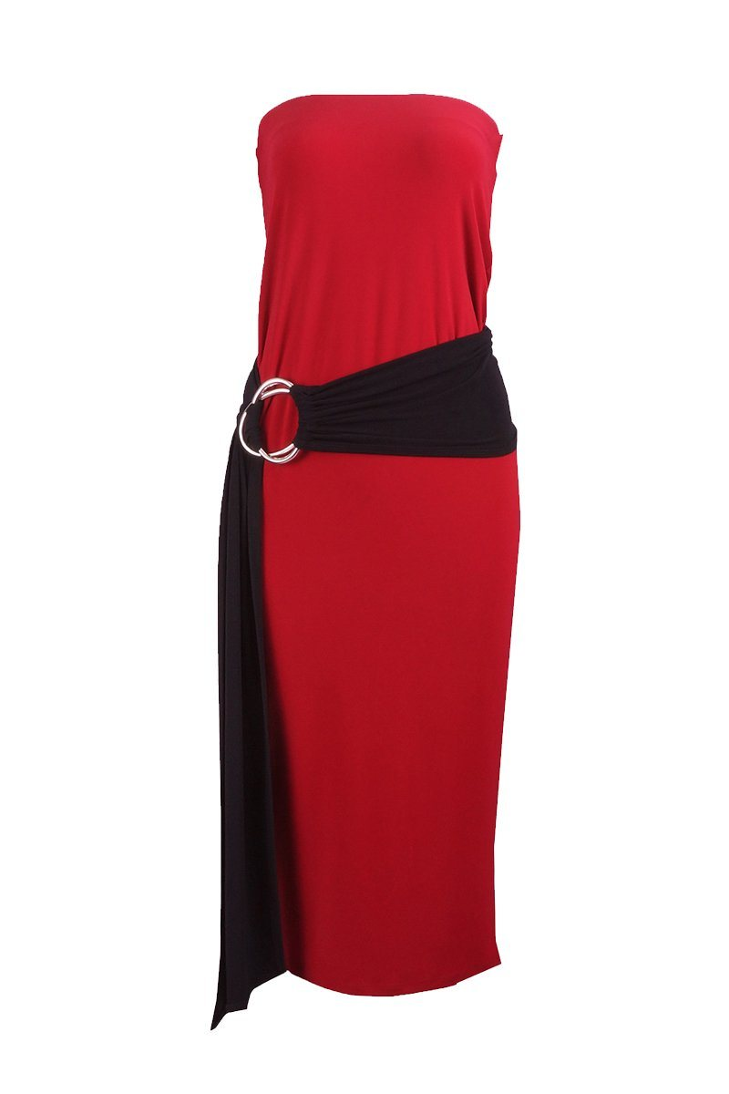 Women's Red Long Tube Dress Rosarini