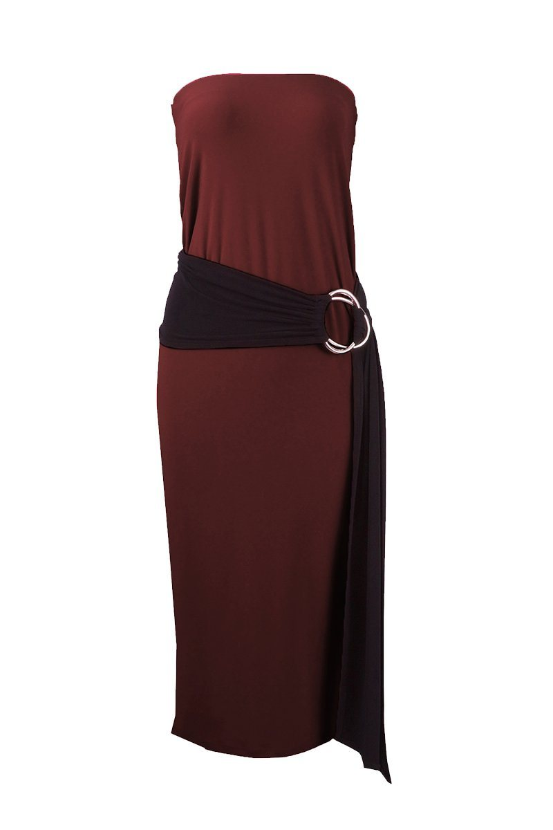 Women's Brown Long Tube Dress Rosarini