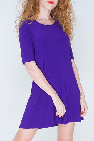 3/4 Sleeve Empire Drape Dress