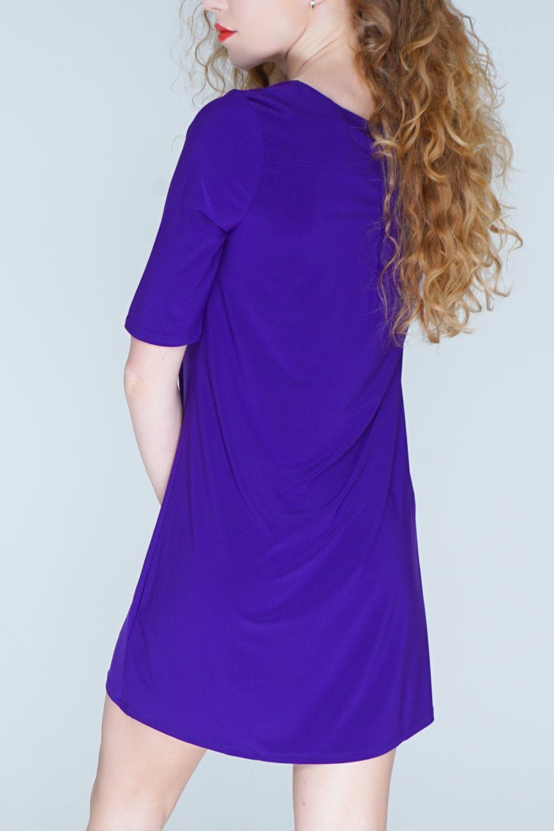 Women's Bright Purple A Line Dress Top Rosarini