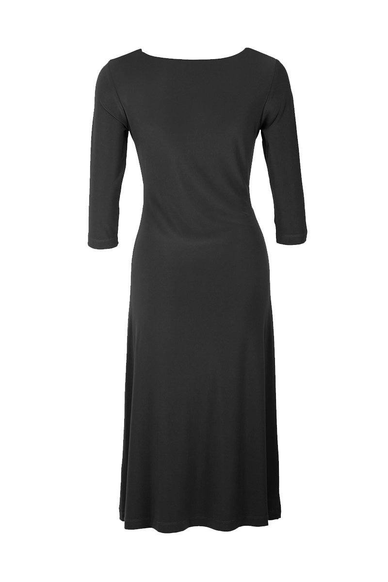 3/4 SLEEVE EMPIRE DRAPE DRESS BLACK