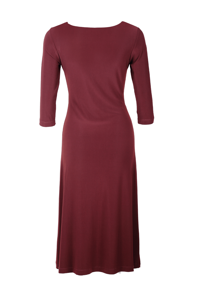 3/4 SLEEVE EMPIRE DRAPE DRESS CHESTNUT