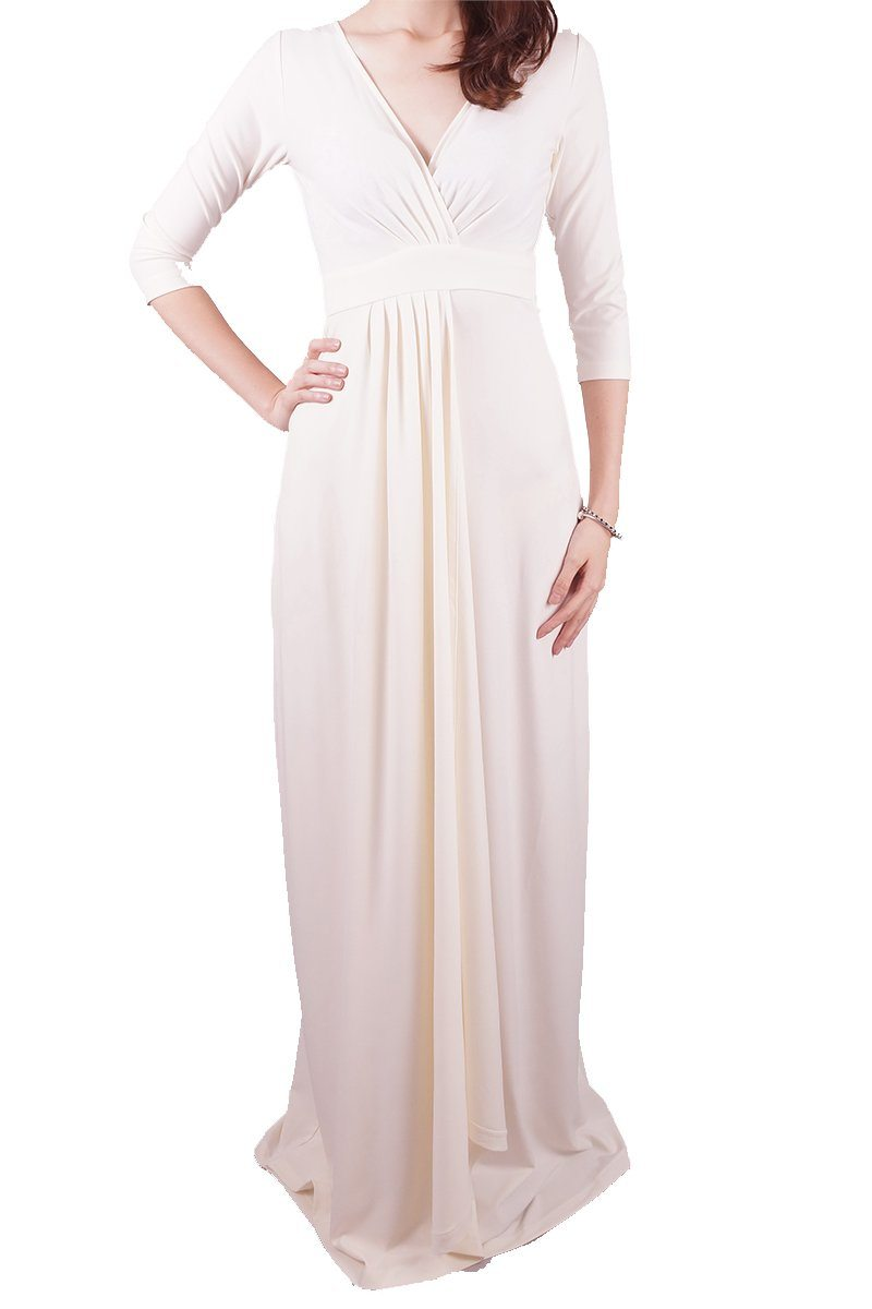 Long Empire Drape Dress - Women's Clothing -ROSARINI