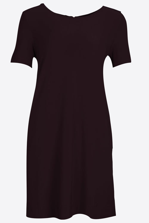 SHORT SLEEVE A-LINE SHIFT DRESS WITH POCKET NAVY