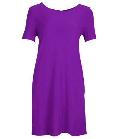 SHORT SLEEVE A-LINE SHIFT DRESS WITH POCKET BRIGHT PURPLE
