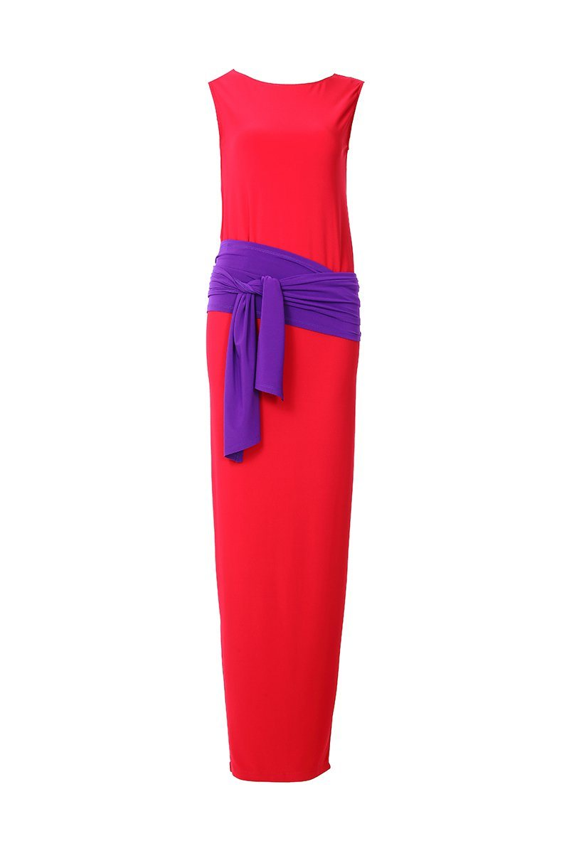 Women's Red Sleeveless Long Shift Dress Rosarini