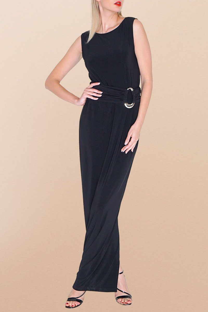 Sleeveless Long Maxi Black Shift Dress