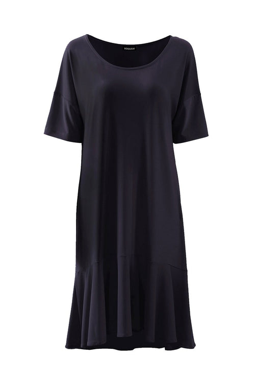 Women's Black High-low Ruffle Hem Dress Rosarini