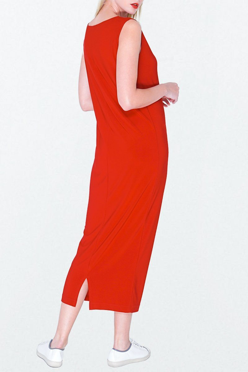 Sleeveless midi shift dress