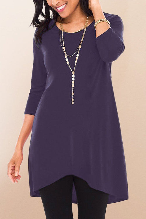 Quarter Sleeve High Low Tunic Top