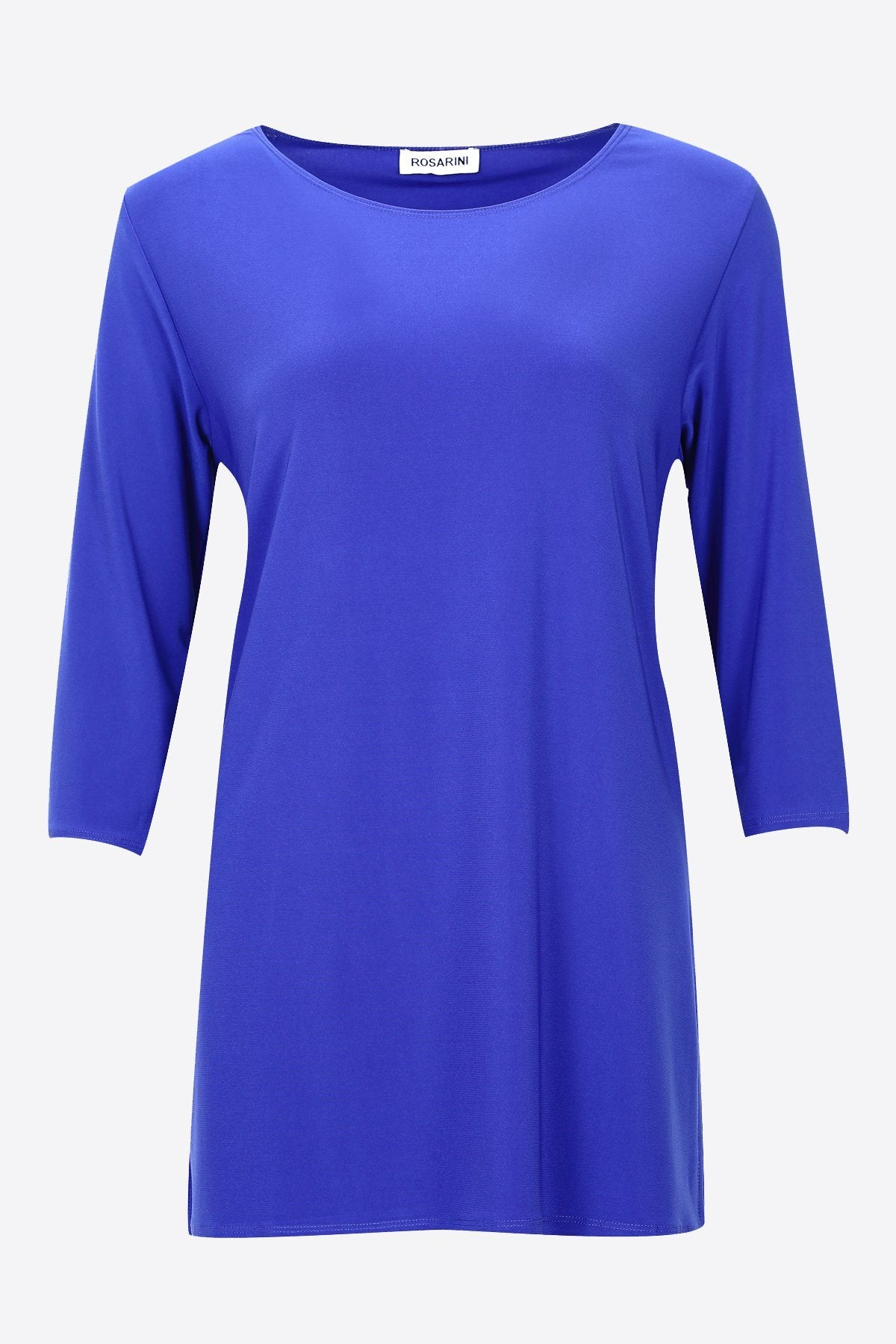3/4 Sleeve Side Splits Boat Neck Top cobalt blue