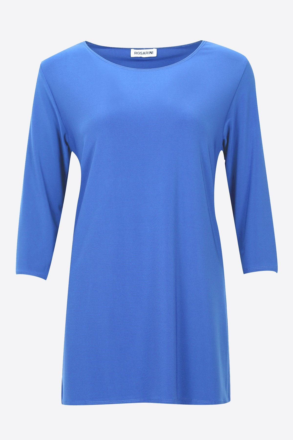 3/4 Sleeve Side Splits Boat Neck Top ocean blue