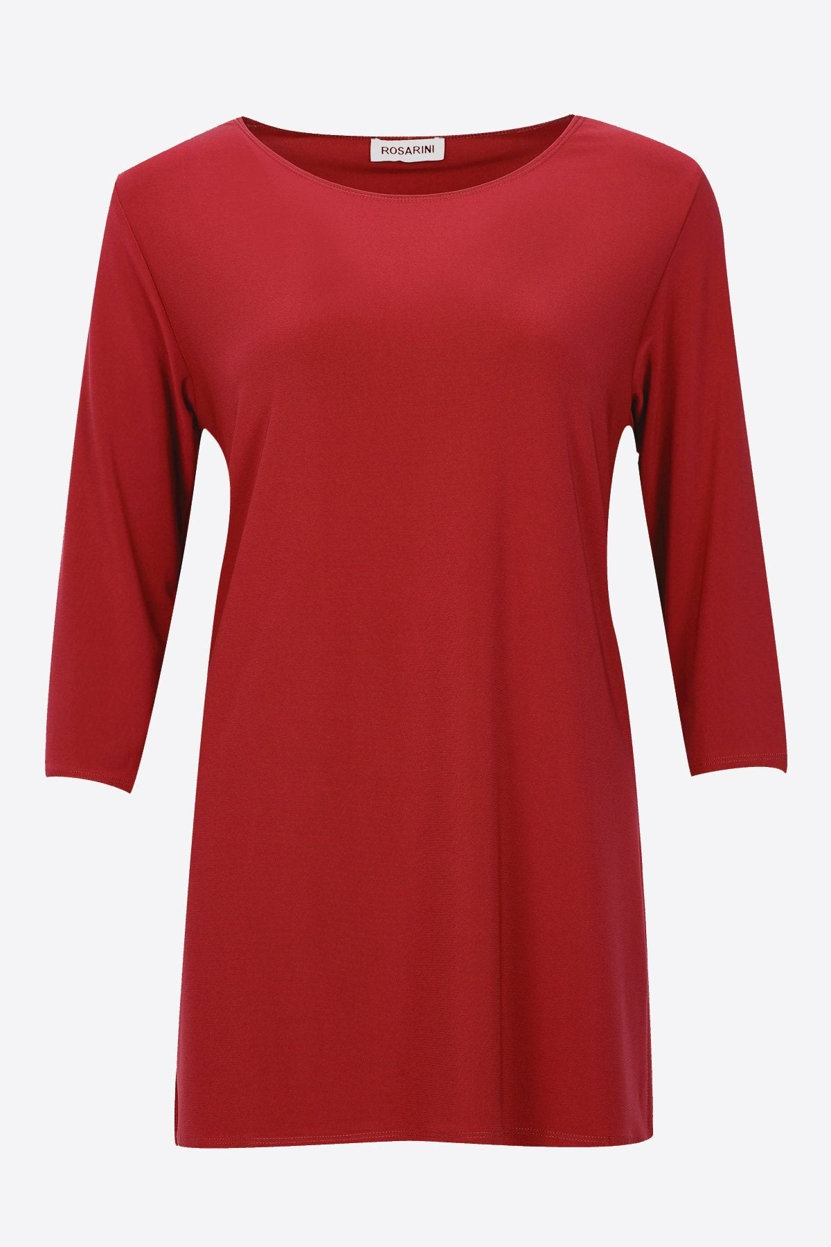 3/4 Sleeve Side Splits Boat Neck Top dark red