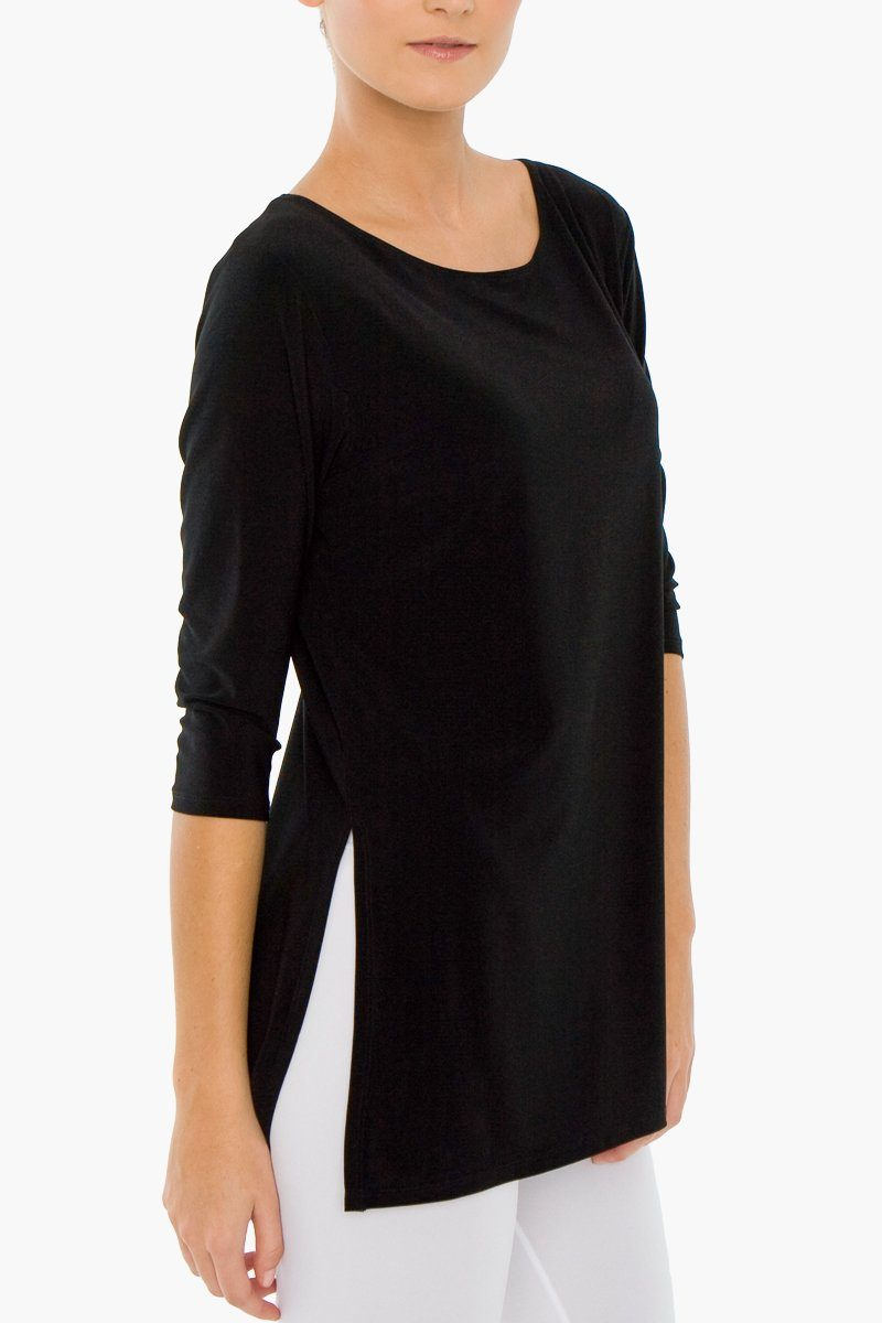 Women's Black Quarter Sleeve Boat Neck Top with side splits