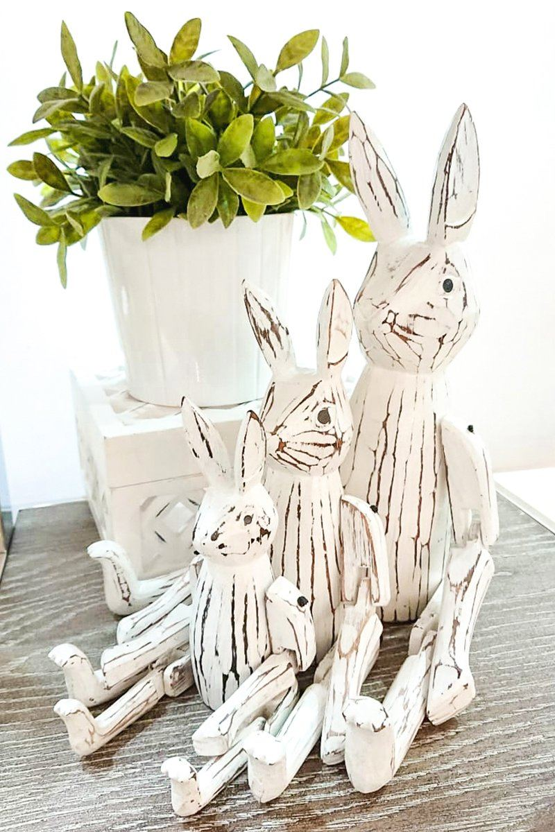 Handmade Wooden Rabbit Set
