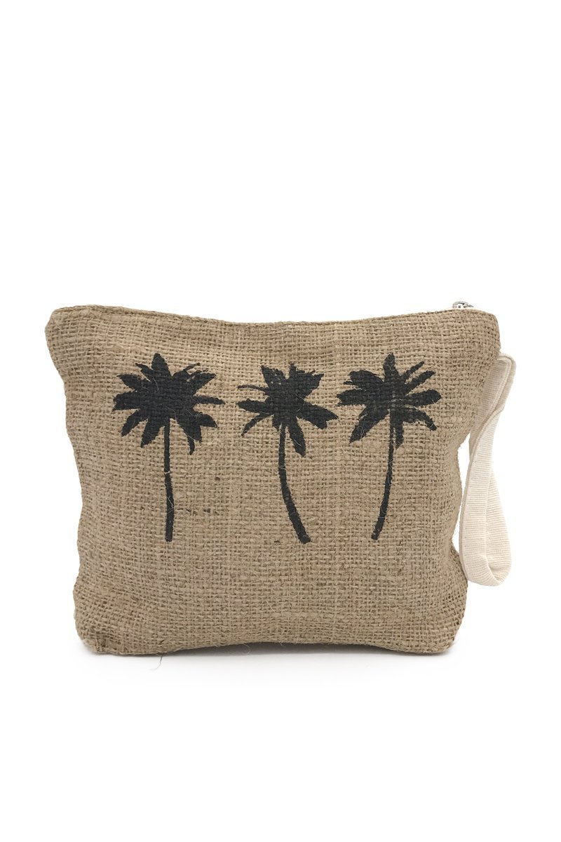 Palm Trees Cosmetic Bag Pouch Black