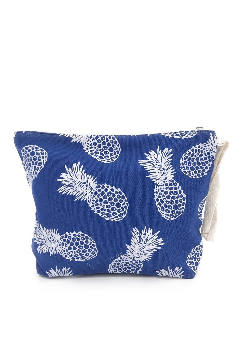 Blue Pineapple Canvas Pouch