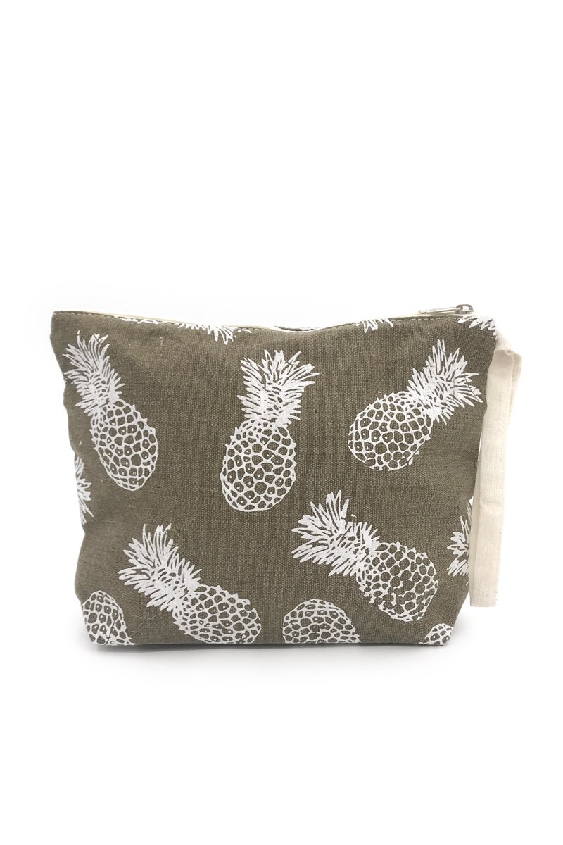 Taupe Pineapple Canvas Pouch