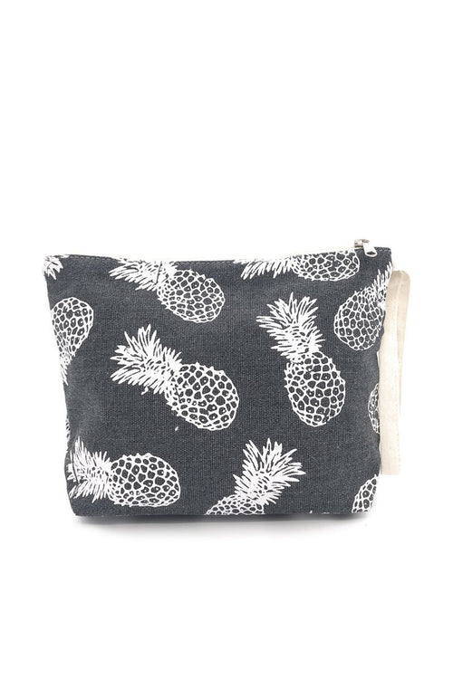 Grey Pineapple Canvas Pouch