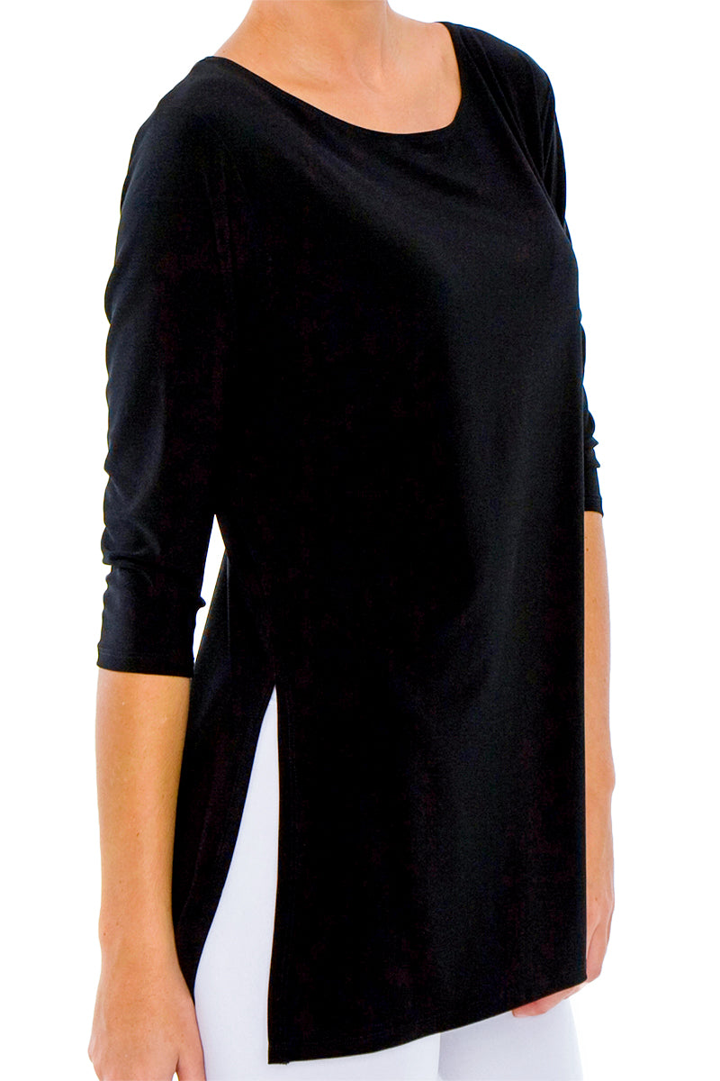 Women's Black 3/4 Sleeve Boat Neck Top with Side Splits Rosarini