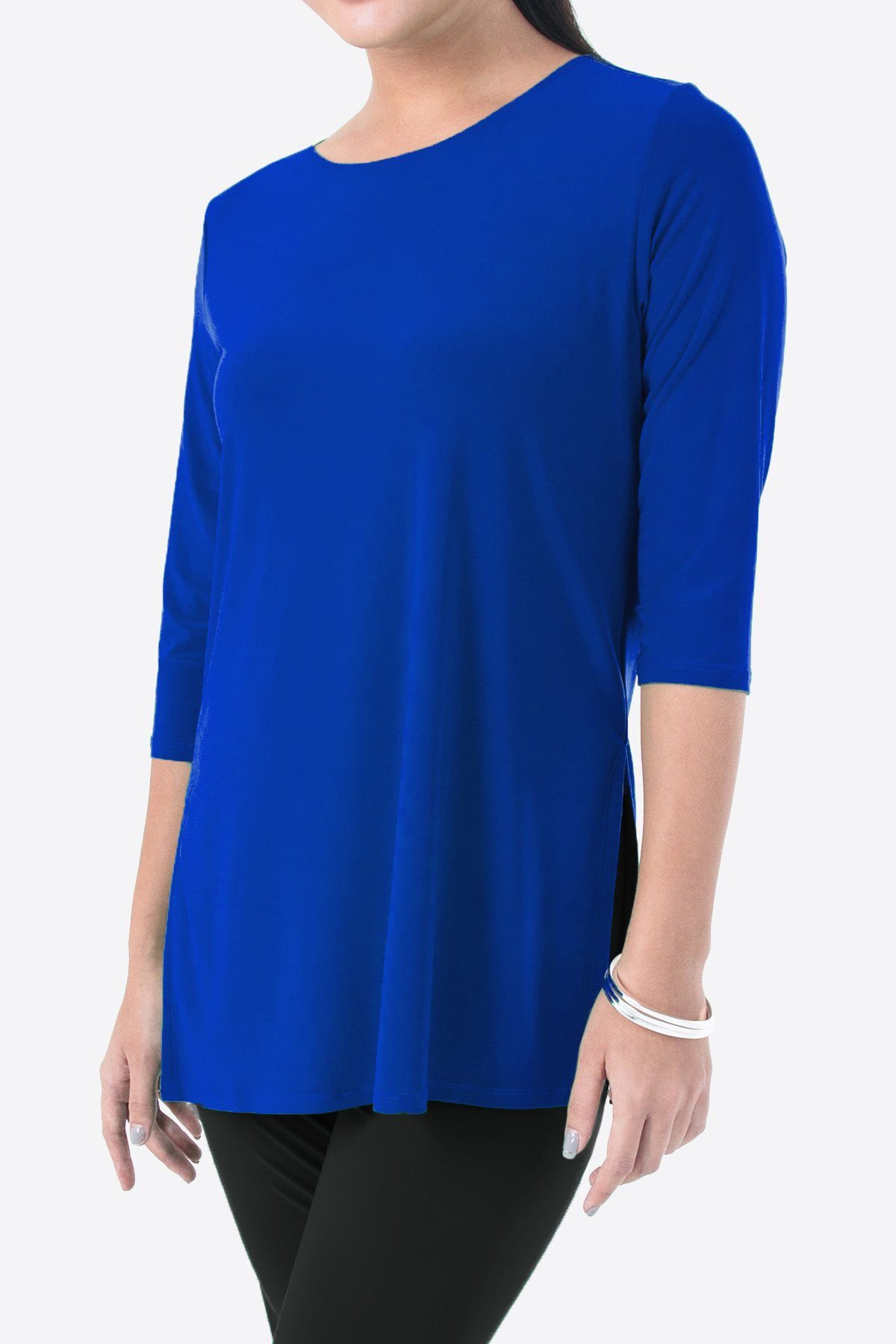 Women's Cobalt Blue 3/4 Sleeve Boat Neck Top with Side Splits Rosarini