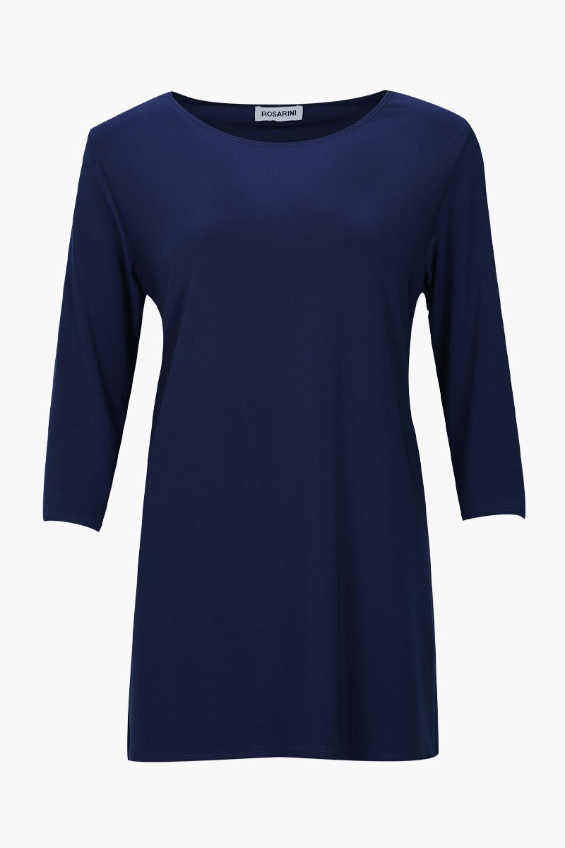 Women's French Navy 3/4 Sleeve Boat Neck Top