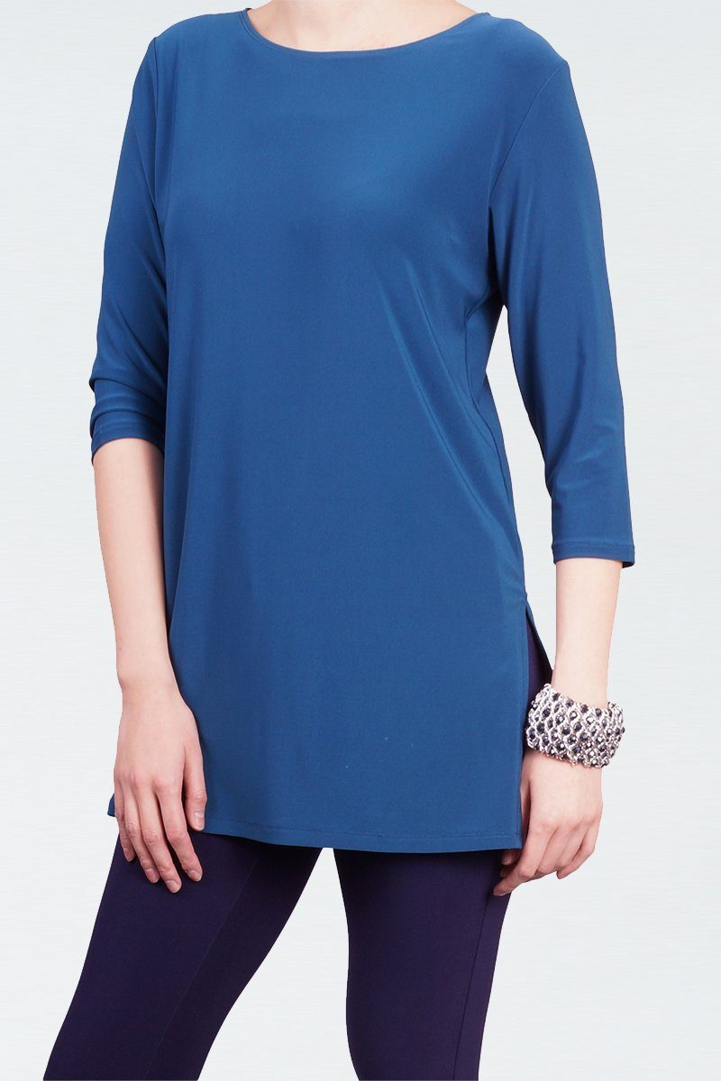 Women's Teal 3/4 Sleeve Boat Neck Top with Side Splits Rosarini