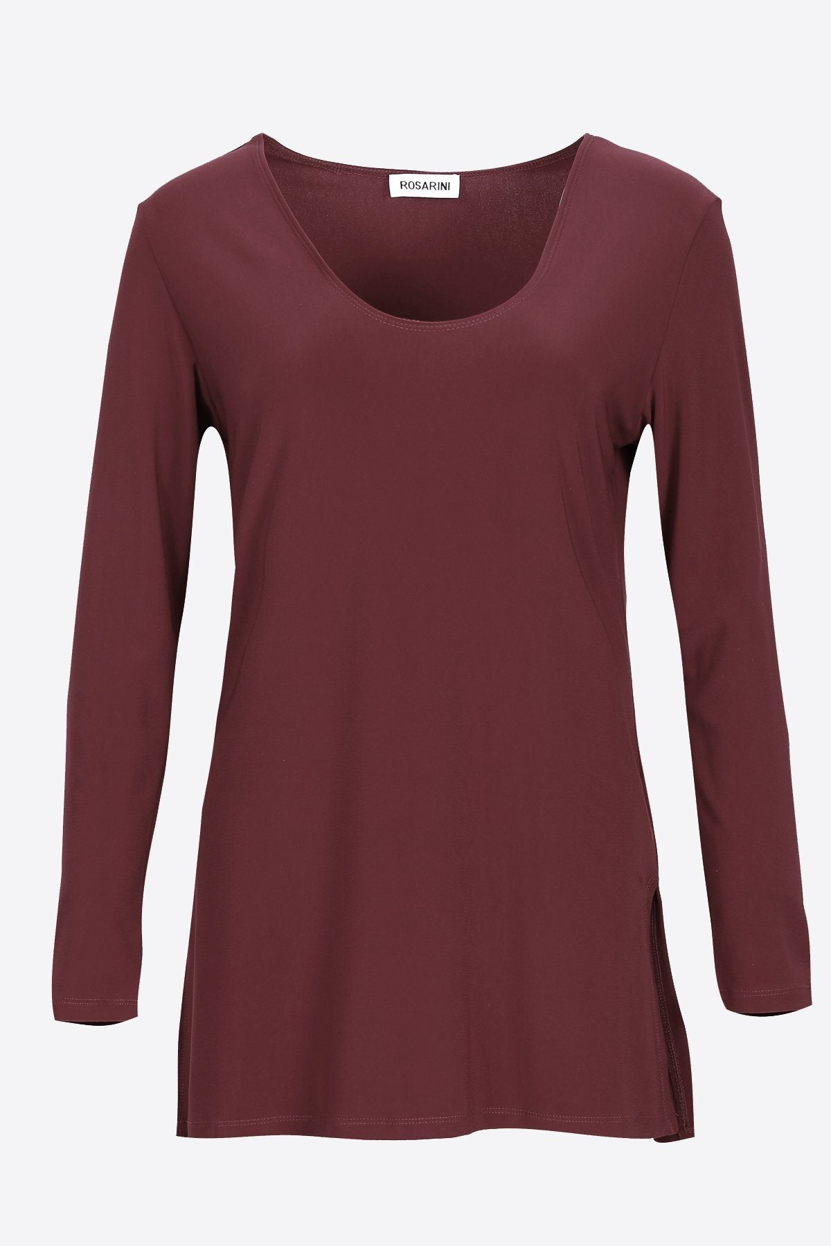 Long Sleeve Side Splits V-Neck Top chestnut