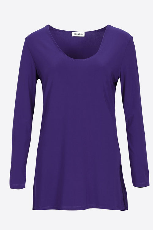 Long Sleeve Side Splits V-Neck Top navy