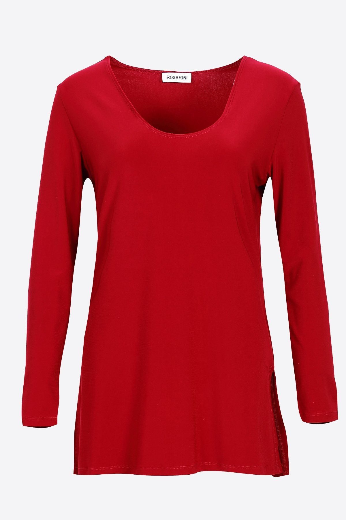 Long Sleeve Side Splits V-Neck Top red