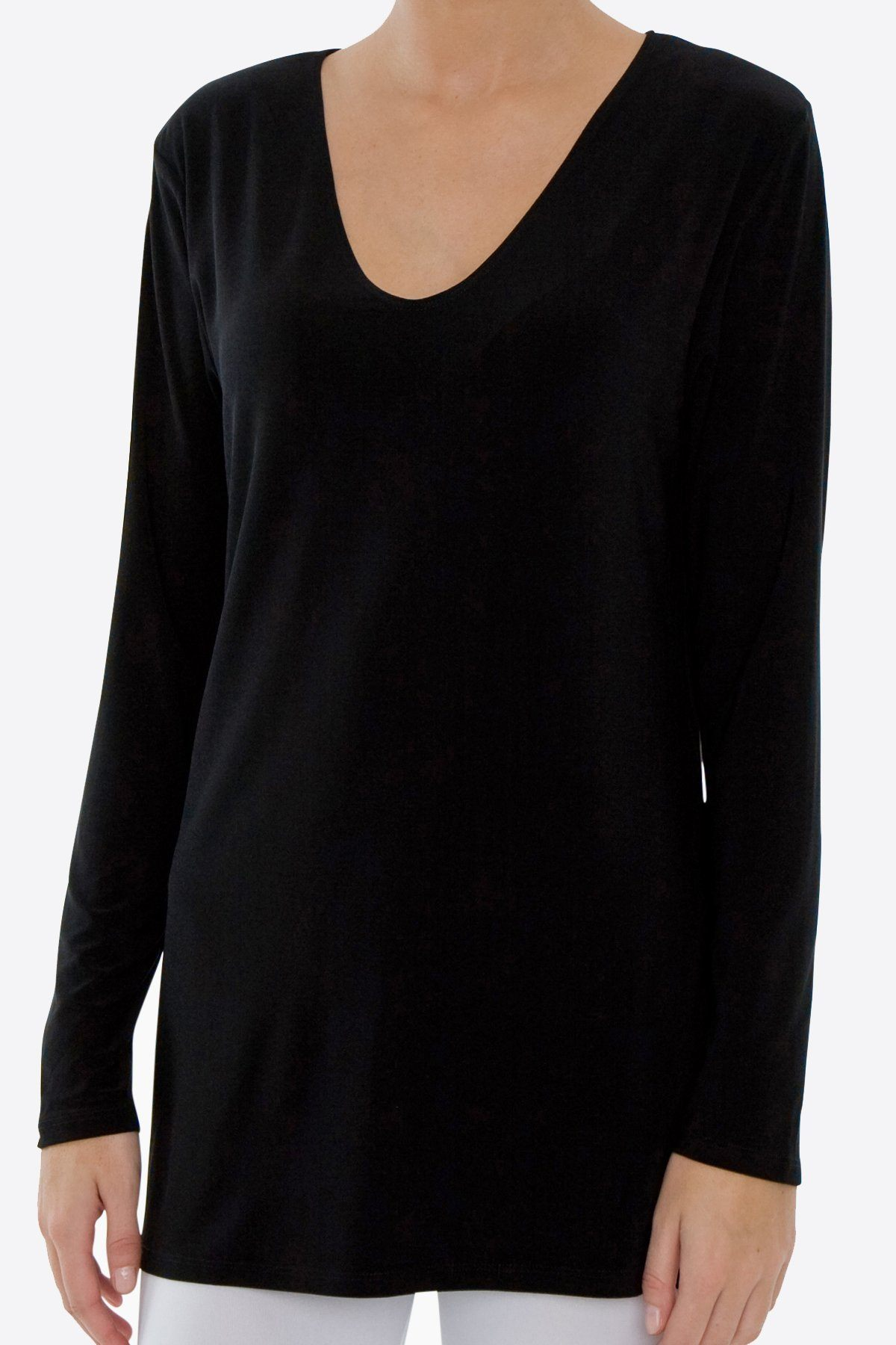 Long Sleeve Side Splits V-Neck Top black