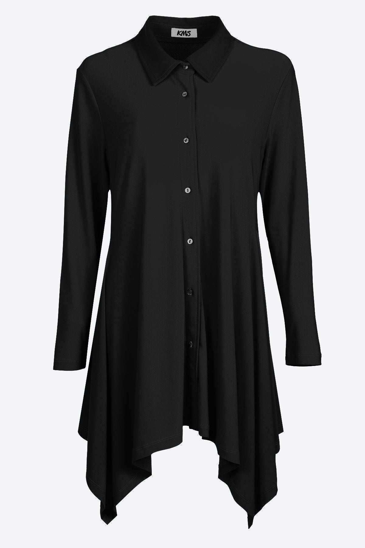 BUTTON THROUGH BLOUSE BLACK
