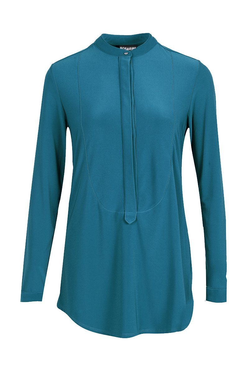 Women's Teal Long Sleeve Half Button Down Shirt Rosarini