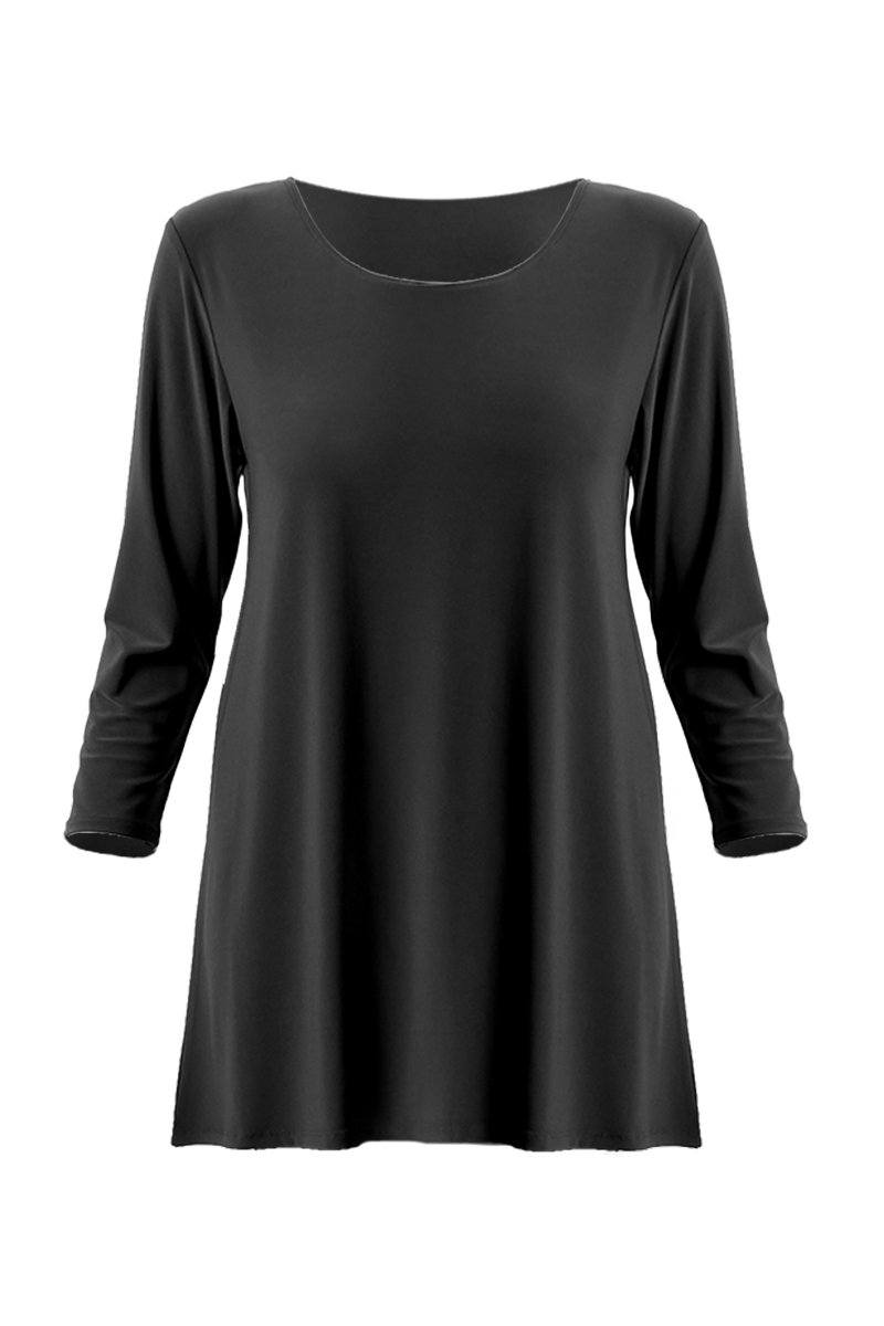 Long Sleeve Scoop Neck Top - Women's Clothing -ROSARINI