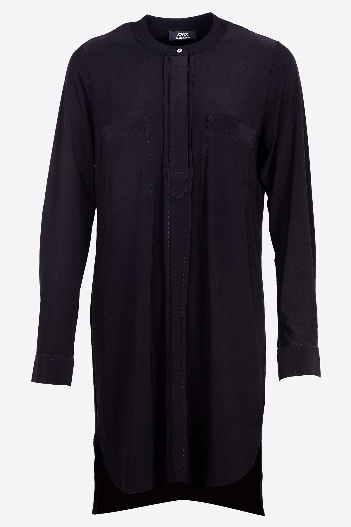 Long Collarless Shirt black