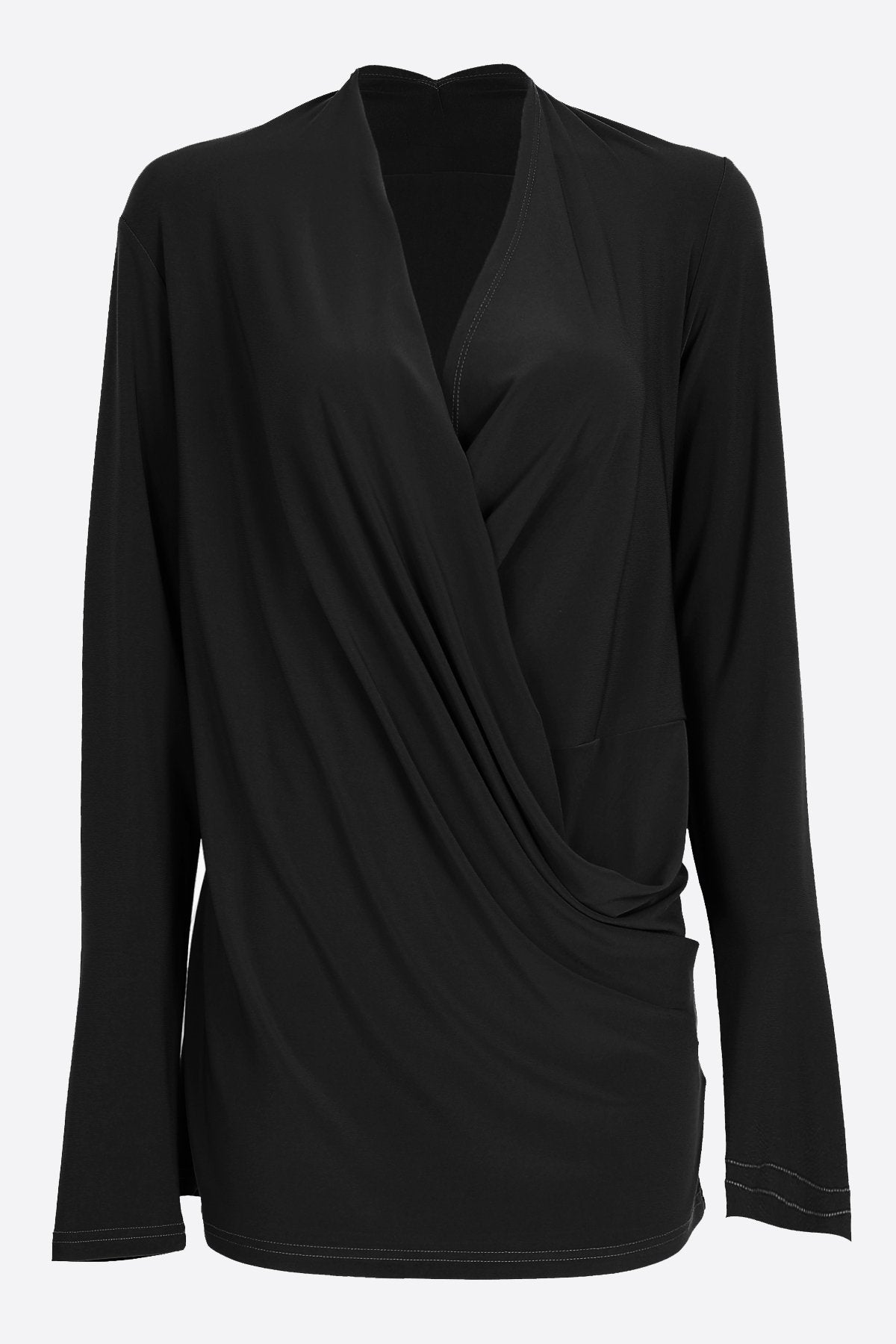 Long Sleeve Crossover Top black