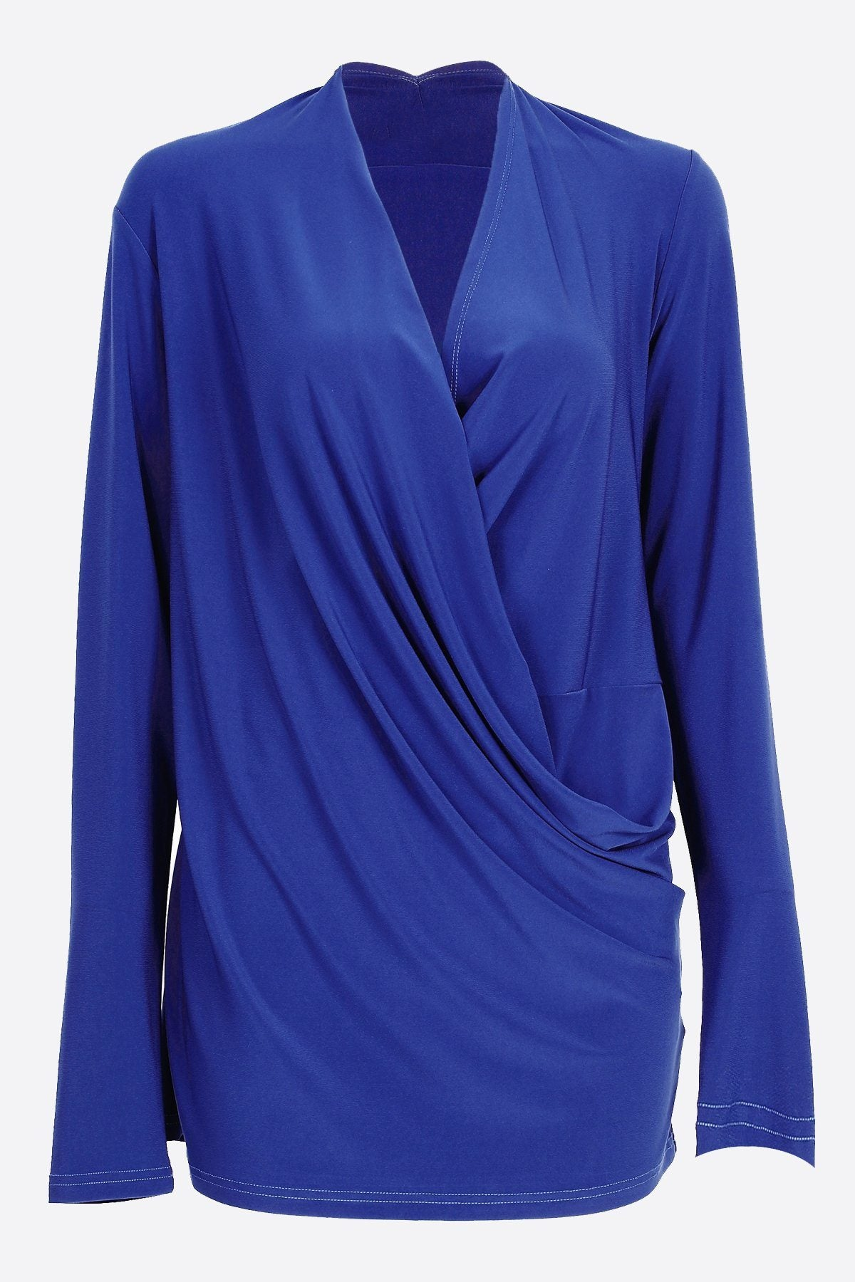 Long Sleeve Crossover Top Blue