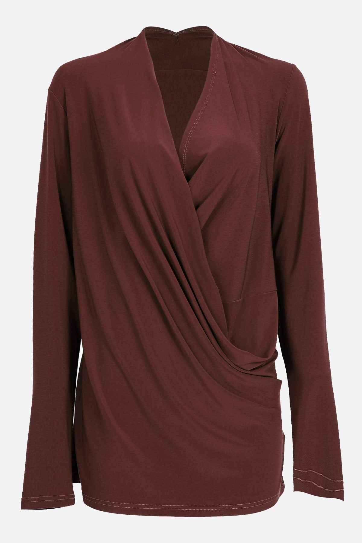 Long Sleeve Crossover Top chestnut
