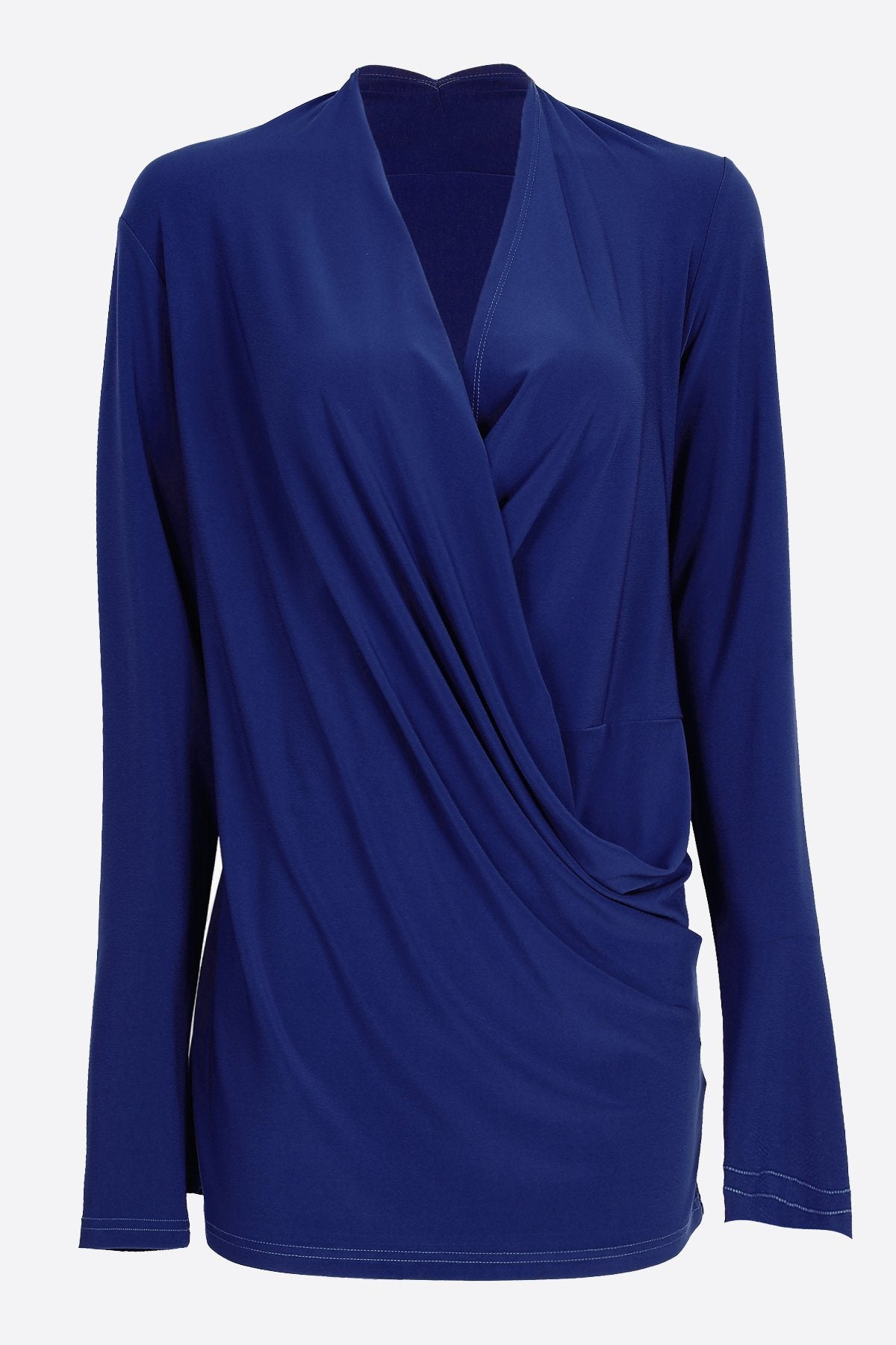 Long Sleeve Crossover Top dark blue