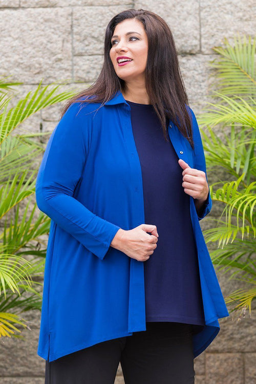 Women Plus Size Button Up Drape Travel Shirt
