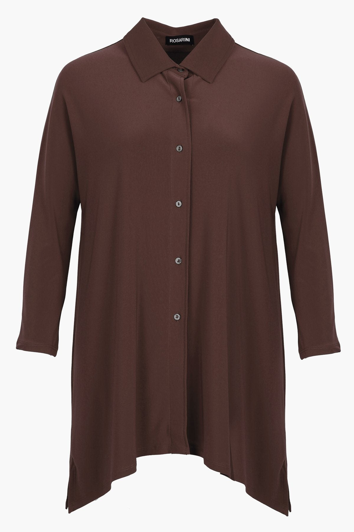 Women's Taupe Button Shirt with Curved Hem 3/4 Sleeves Travel Shirt Rosarini