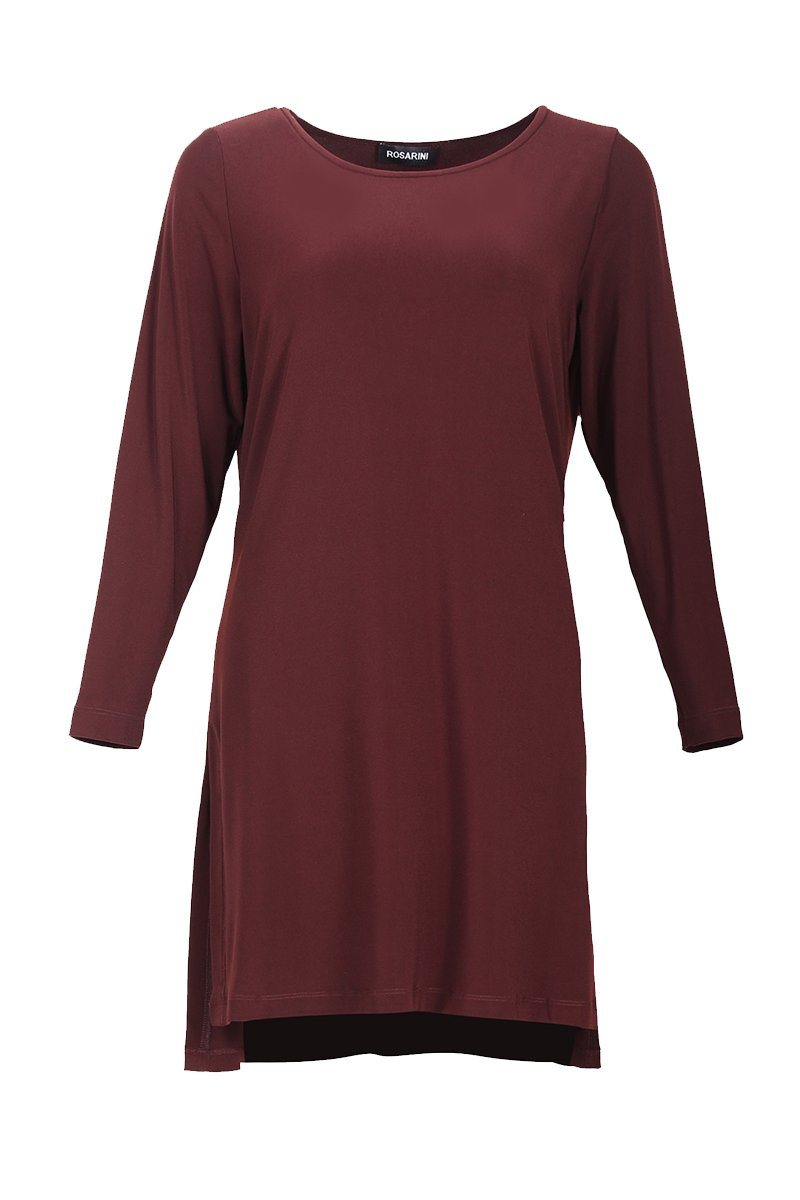 Women's Chestnut Hi Low Side Split Tunic Top with Long Sleeve Rosarini
