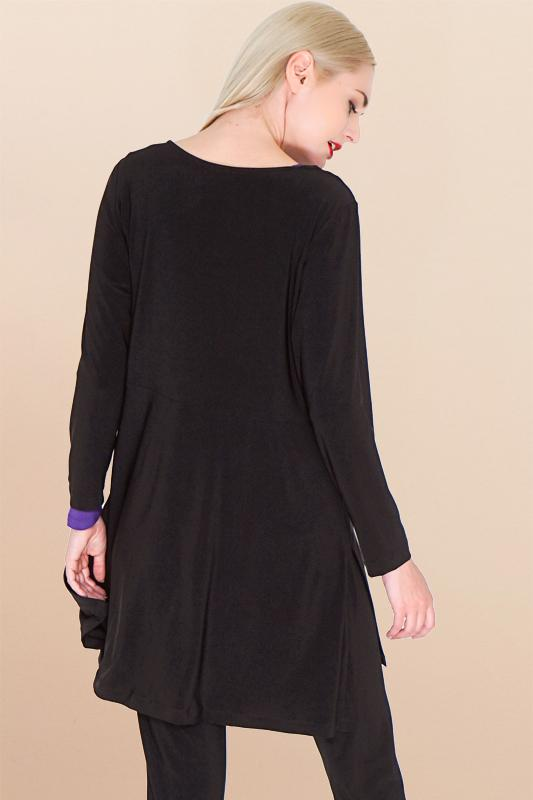 Women's Black Hi Low Side Split Tunic Top with Long Sleeve Rosarini
