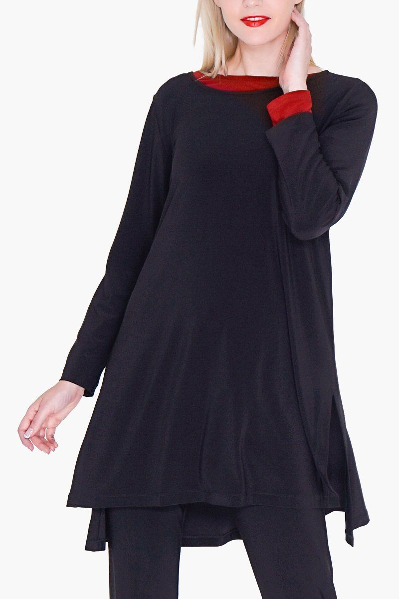 Women's Black Long Sleeve High Low Tunic with Side Splits