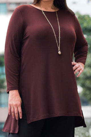 Boat Neck Top with Side Splits