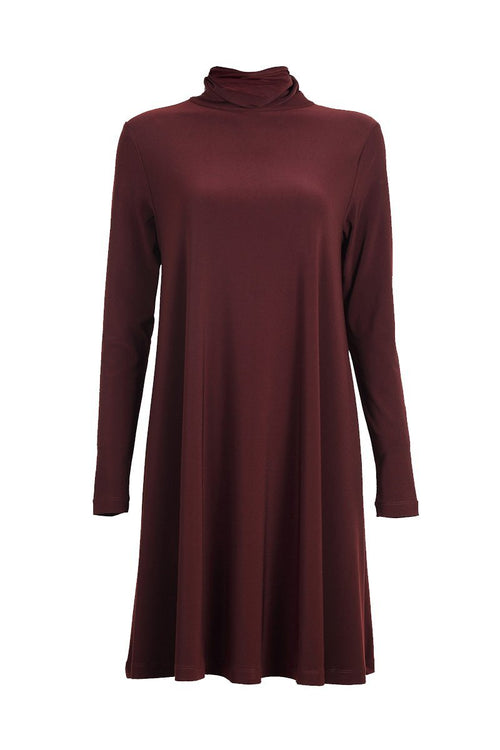 Women's Chestnut Long Sleeve High Neck Swing Top Rosarini