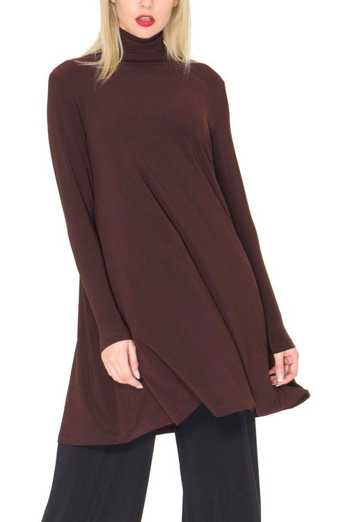 Long Sleeve High Neck Swing Top