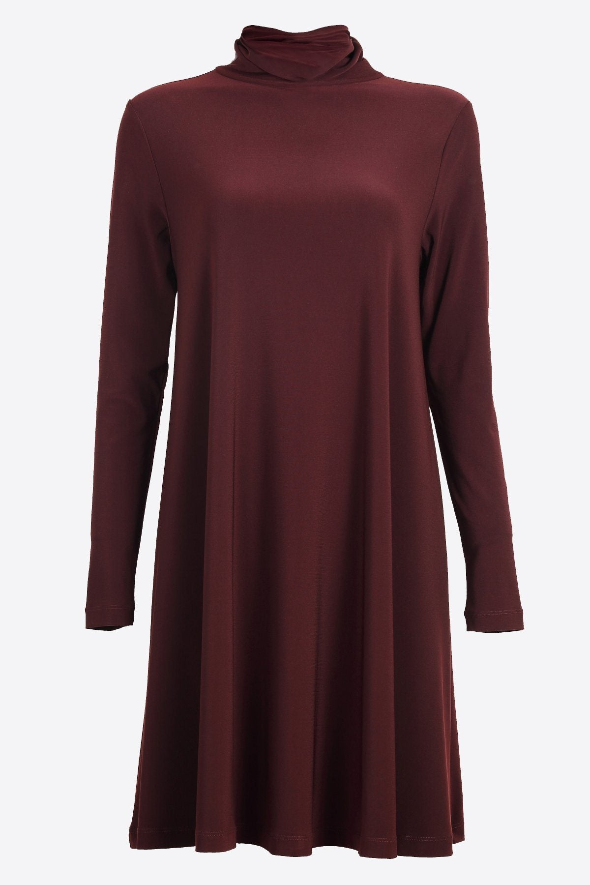 Long Sleeve High Neck Swing Top chestnut