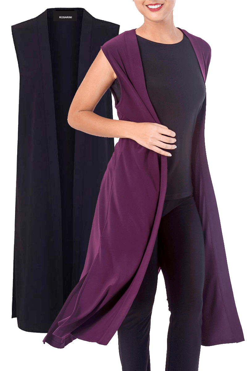 Long Vest with Side Splits - Women's Clothing -ROSARINI