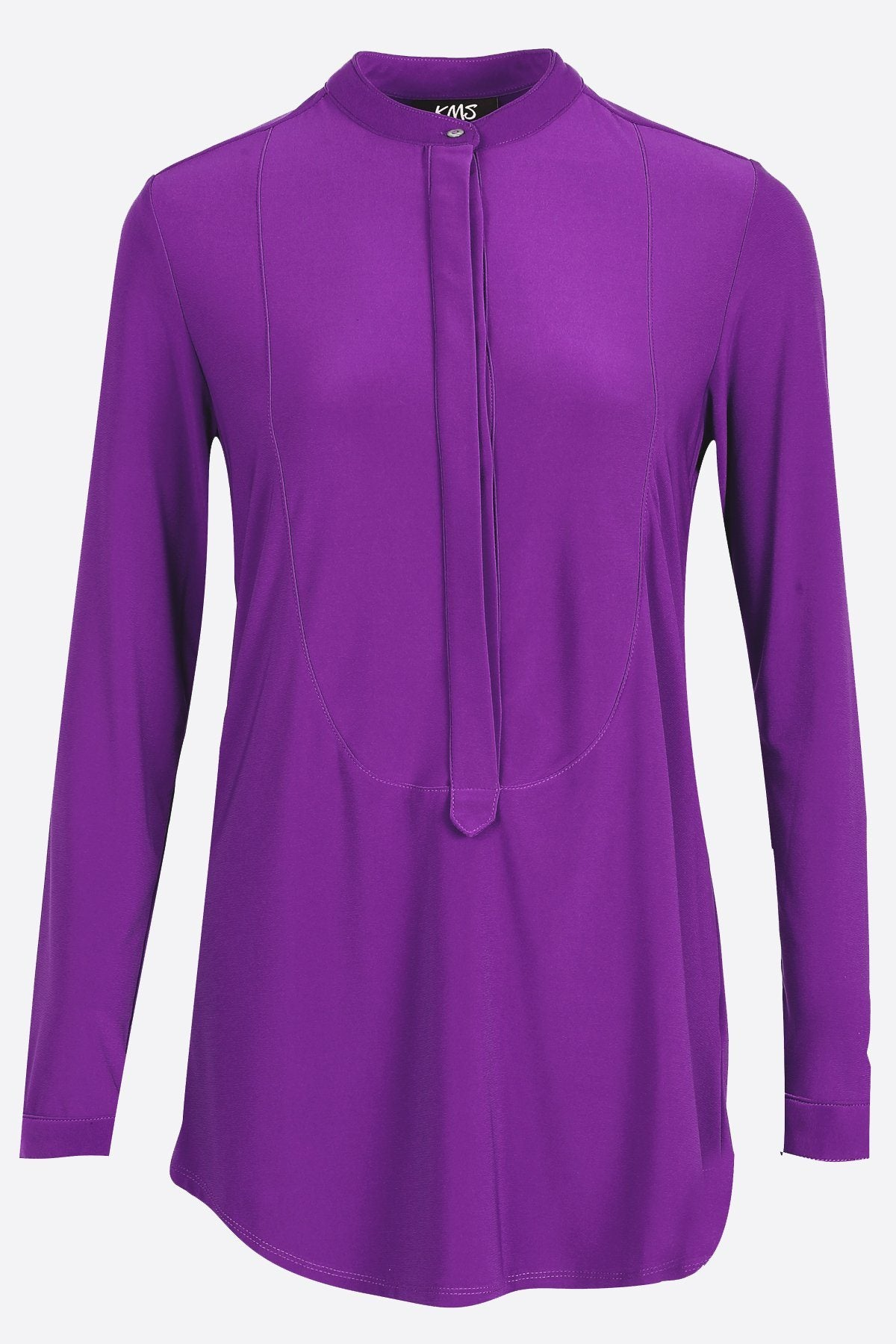 Women's Bright Purple Long Sleeve Half Button Down Shirt Rosarini
